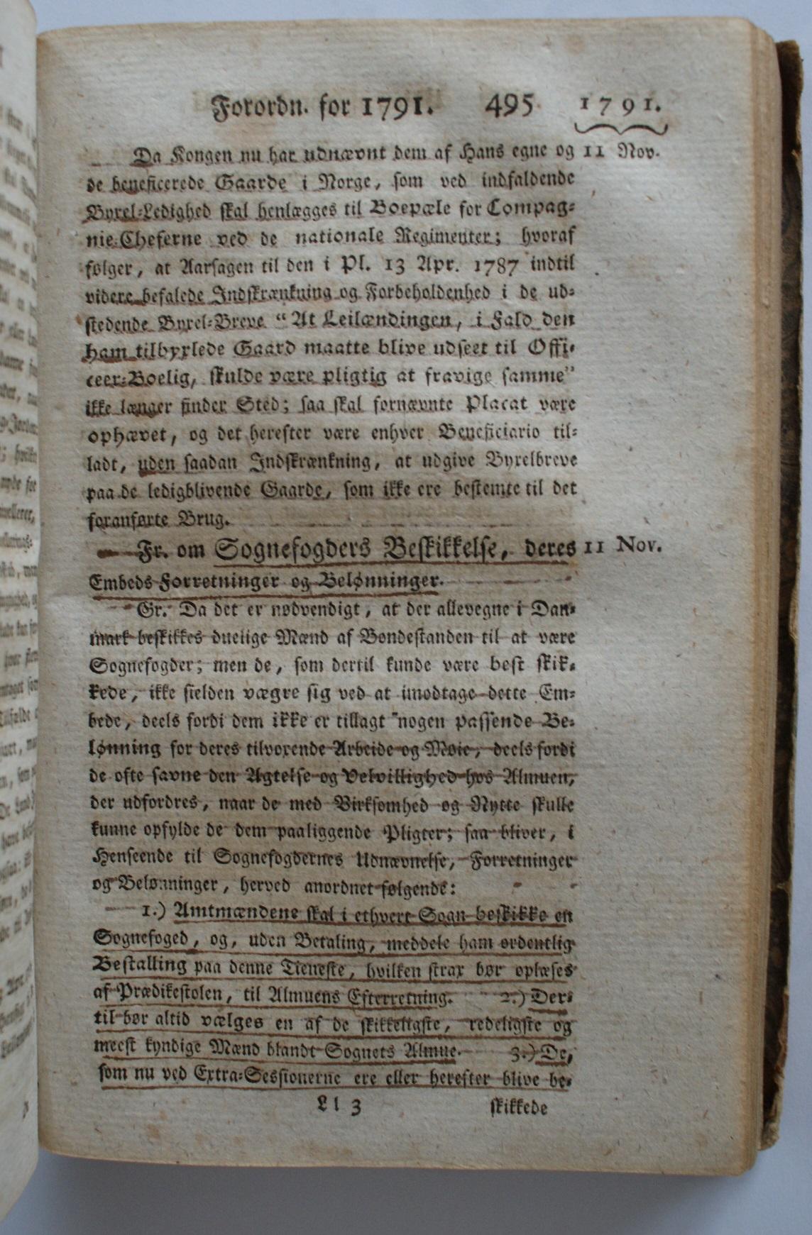 Forordning om Sognefogders Beskikkelse, deres Embeds Forretninger og Belønninger af 11. november 1791